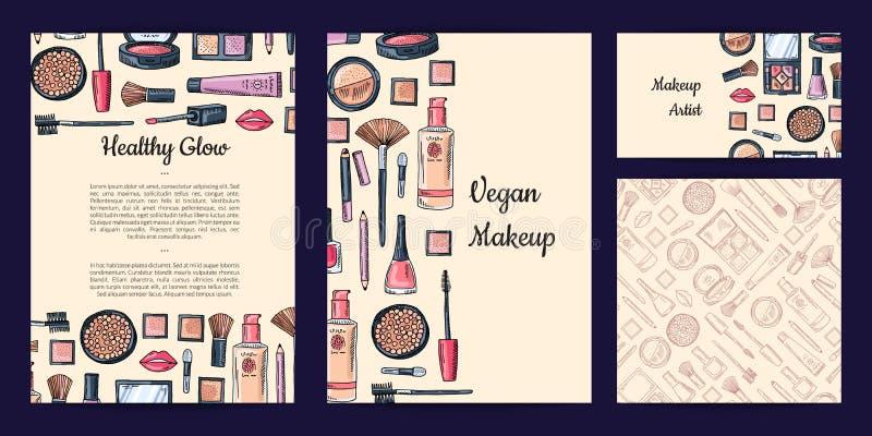 Wektorowy piękno lub makeup gatunku set z ulotką, karta, wizytówka szablony lub wzór, ilustracja wektor