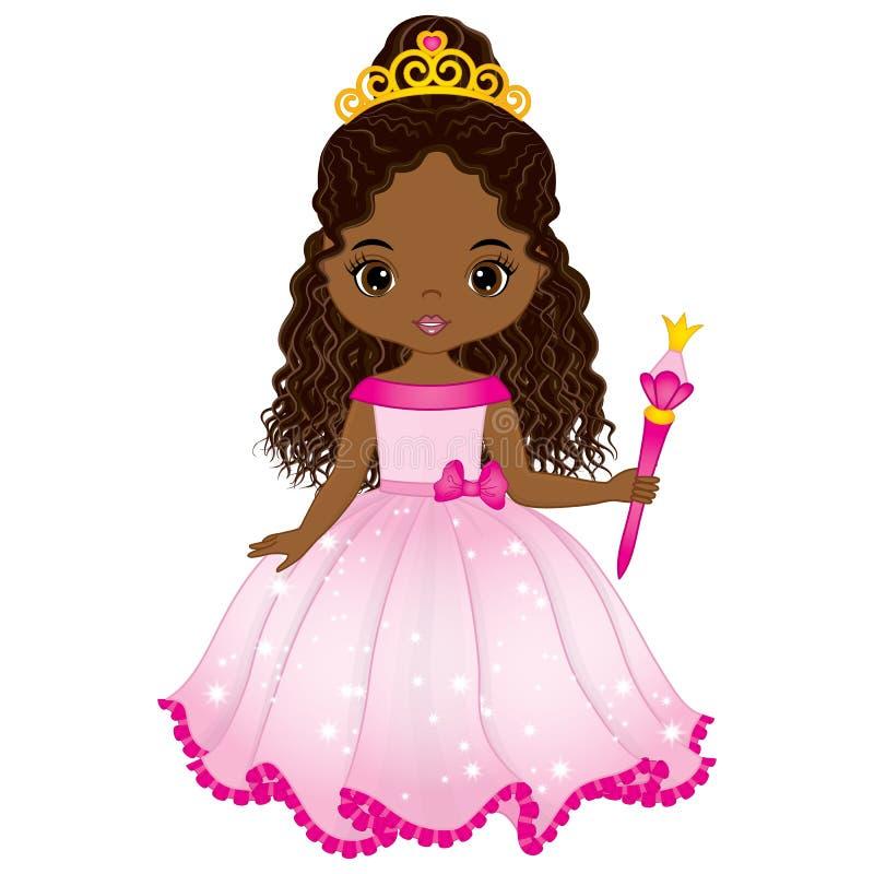 Wektorowy Piękny amerykanina afrykańskiego pochodzenia Princess w menchii sukni ilustracji