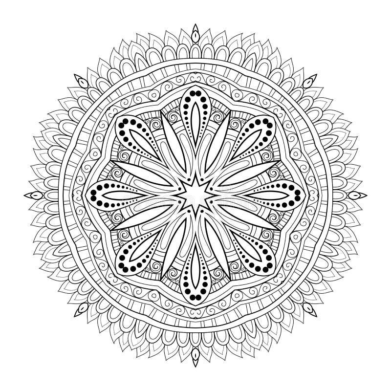 Wektorowy Piękny Deco monochromu konturu mandala royalty ilustracja