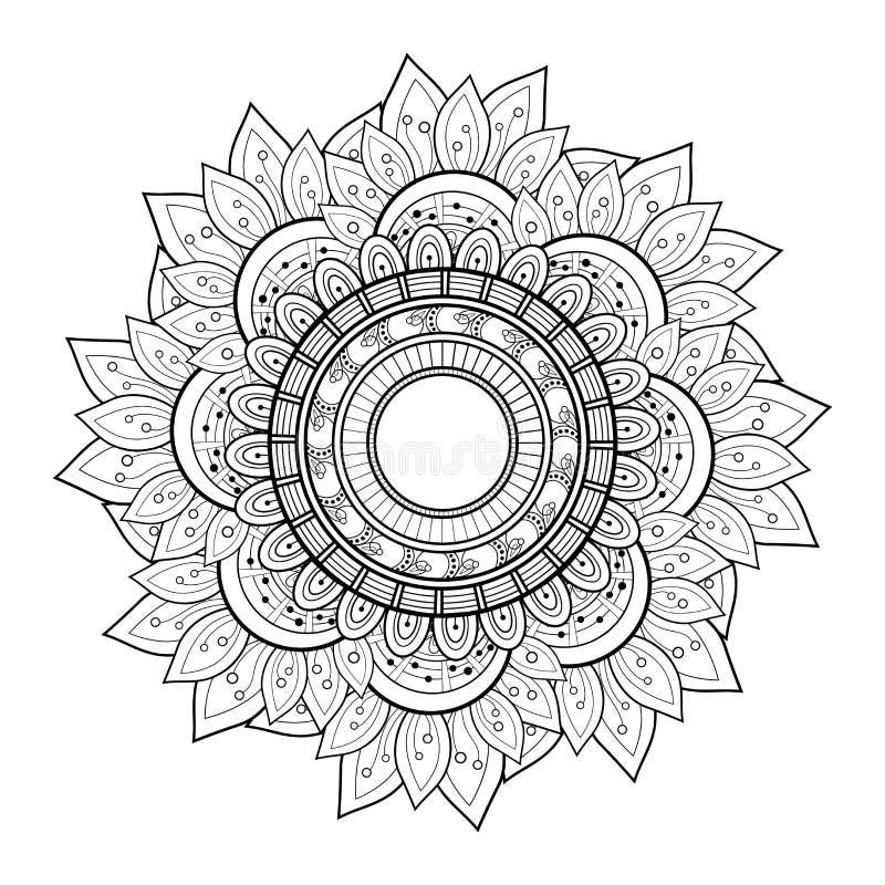 Wektorowy Piękny Deco monochromu konturu mandala ilustracja wektor