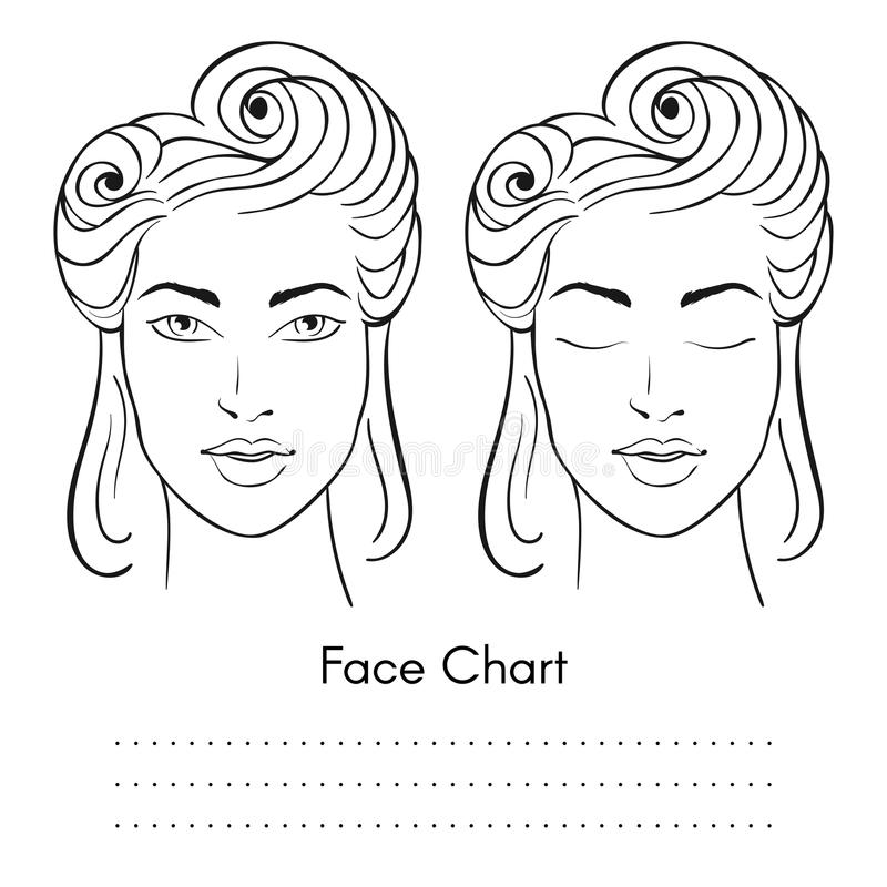 Wektorowy piękny kobiety twarzy mapy portret ilustracja wektor