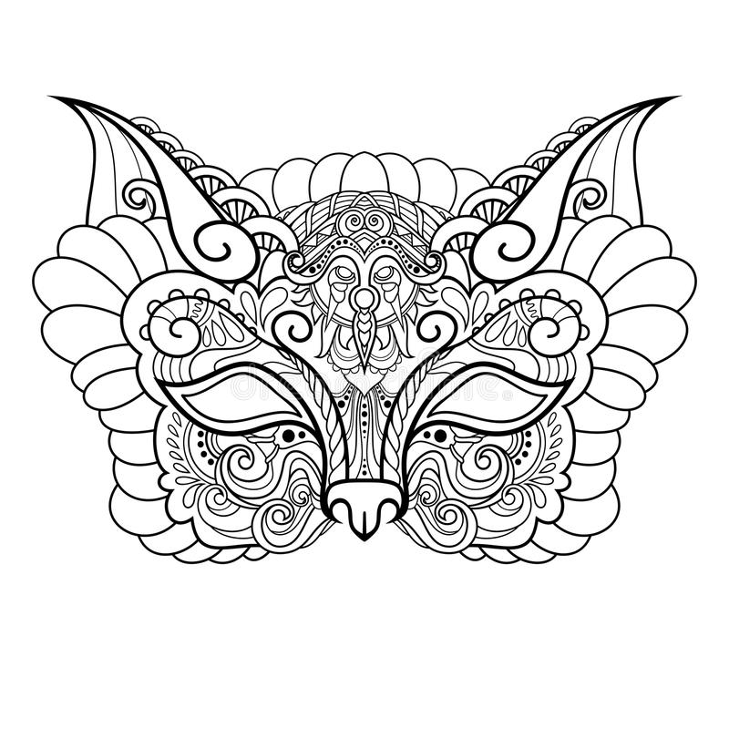 Wektorowy Piękny maskarady maski kot ilustracji