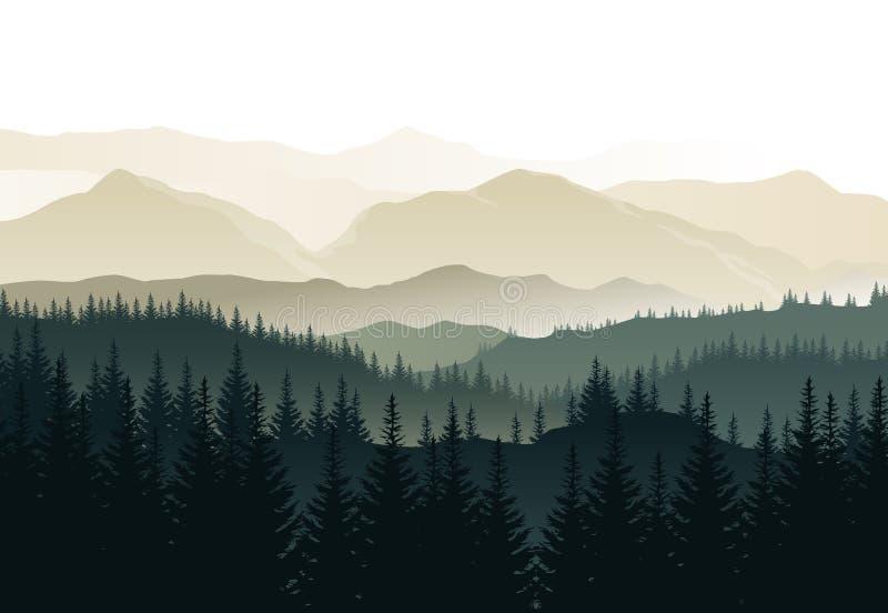 Wektorowy piękny ranku krajobraz z mglistymi zielonymi lasami i ilustracja wektor