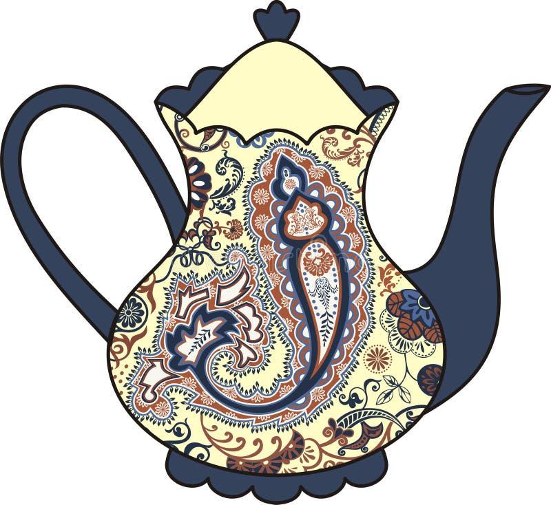Wektorowy piękny teapot (filiżanka herbata) Paisley elementy ilustracja wektor