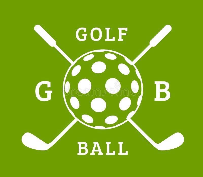 Wektorowy piłka golfowa znak z piłką i klubami dla golfa na zielonym tle zdjęcie stock