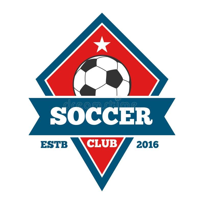 Wektorowy piłka nożna logo, odznaka, emblemata szablon w czerwonym błękicie royalty ilustracja
