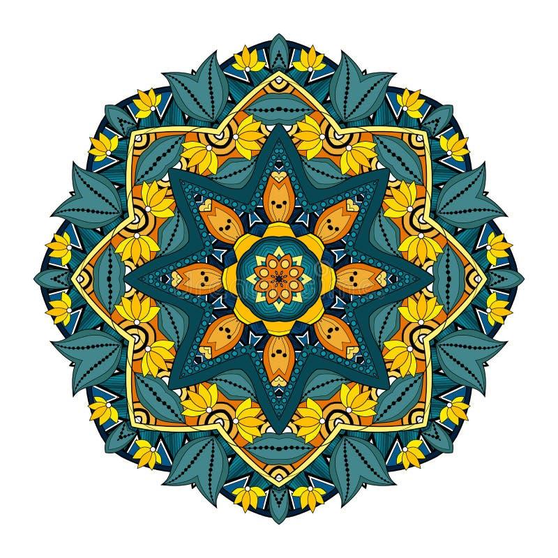 Download Wektorowy Piękny Deco Barwiony Mandala Ilustracja Wektor - Ilustracja złożonej z doilies, henna: 57661769