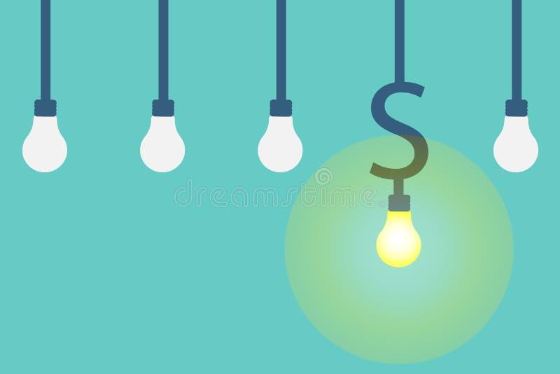Wektorowy pieniądze robi pomysłu pojęciu żarówki dolara łuny światło inny symbol ilustracji