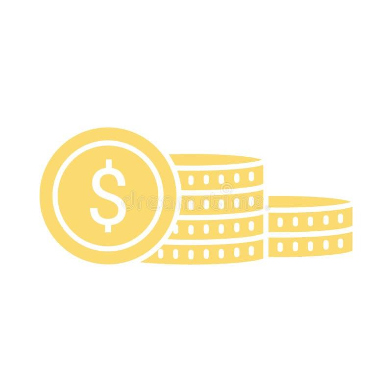 Wektorowy pieniądze ukuwa nazwę ikonę Oszczędzanie pieniądze pojęcia znak z menniczym sta ilustracji