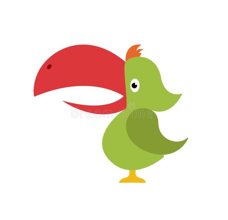 Wektorowy pieprzojad Egzotyczny tropikalny ptasi obsiadanie na gałąź Jaskrawy ilustracyjny kreskówka styl dla lato tropikalnego r royalty ilustracja