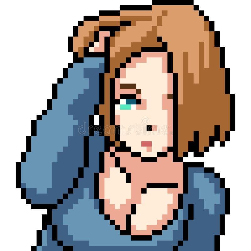 Wektorowy piksel sztuki anime gil ilustracja wektor