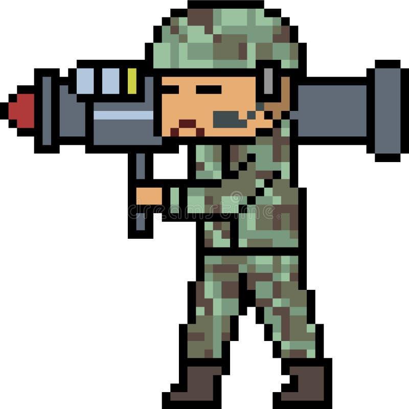 Wektorowy piksel sztuki bazooka wojsko ilustracja wektor