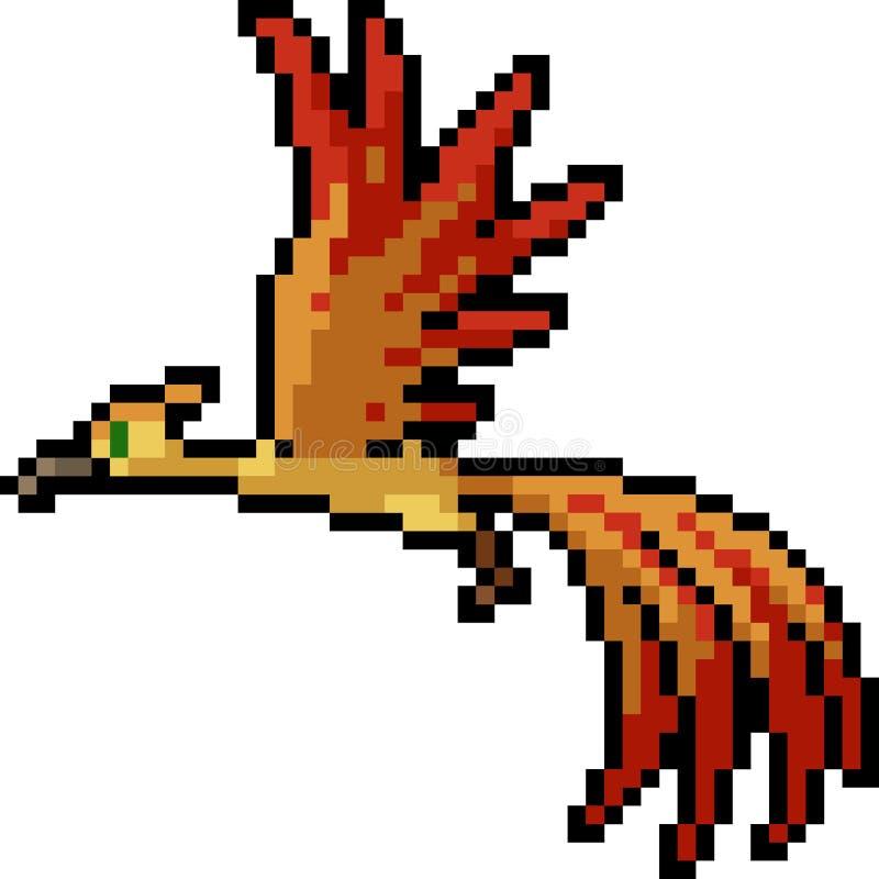 Wektorowy piksel sztuki fantazji ptak royalty ilustracja