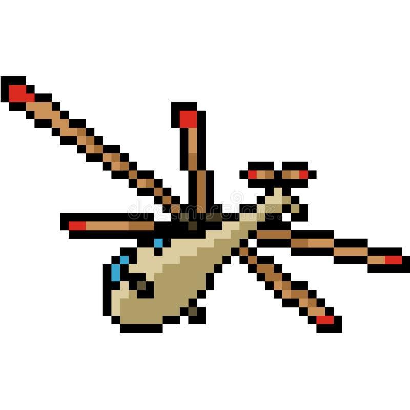 Wektorowy piksel sztuki helikopter ilustracja wektor