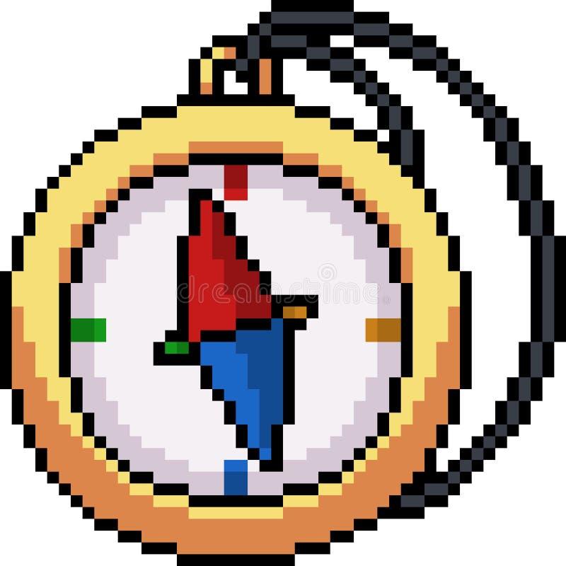 Wektorowy piksel sztuki kompas royalty ilustracja