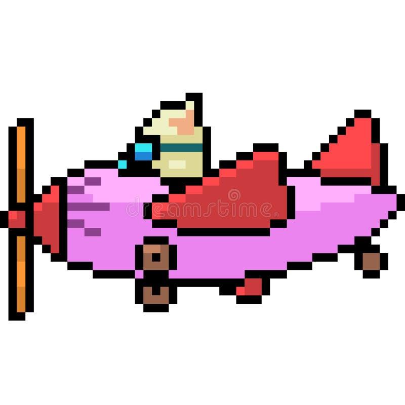 Wektorowy piksel sztuki kota przejażdżki samolot royalty ilustracja