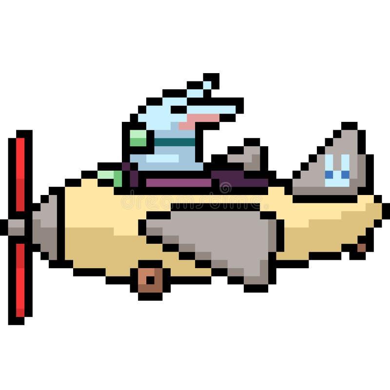 Wektorowy piksel sztuki królika przejażdżki samolot royalty ilustracja