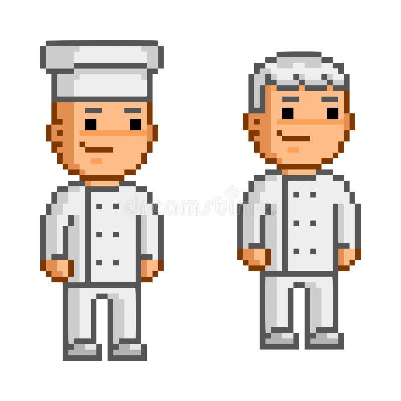 Wektorowy piksel sztuki kucharz i szefowie kuchni royalty ilustracja