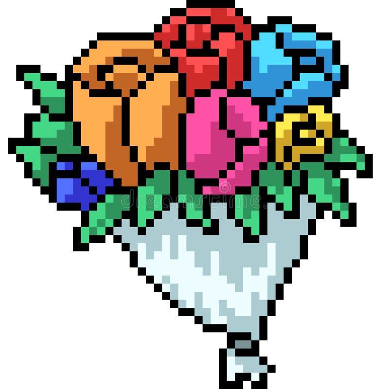 Wektorowy piksel sztuki kwiatu bukiet royalty ilustracja