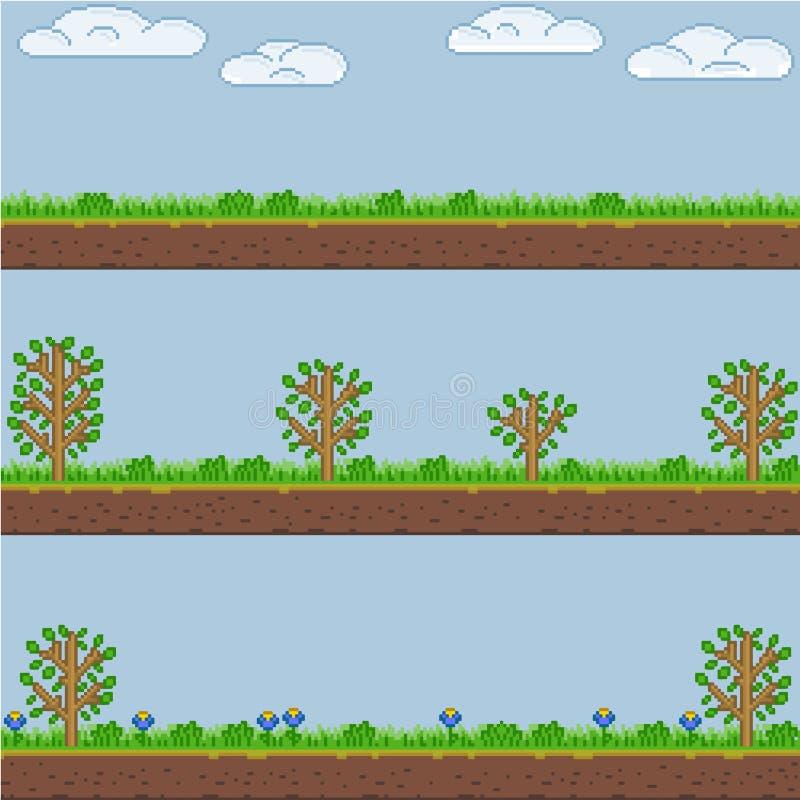 Wektorowy piksel sztuki lasowej zieleni tło i tekstura ilustracji