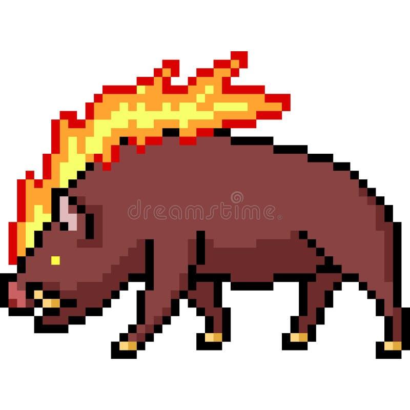 Wektorowy piksel sztuki ogienia knur ilustracja wektor