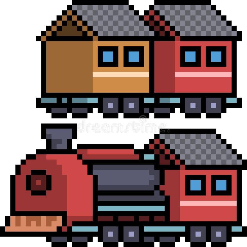 Wektorowy piksel sztuki pociągu set royalty ilustracja