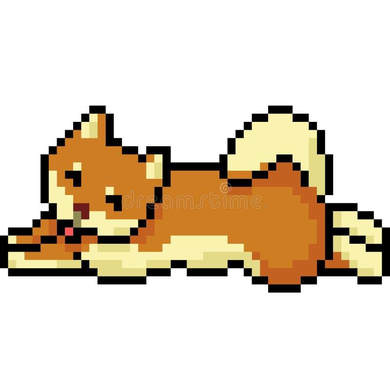 Wektorowy piksel sztuki psa shiba ilustracji