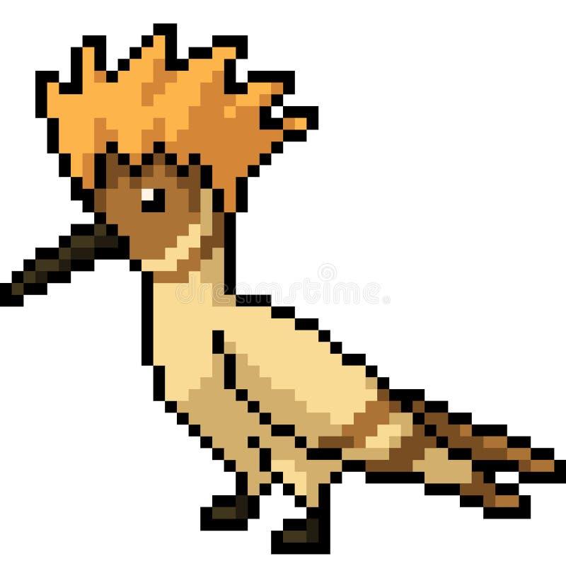 Wektorowy piksel sztuki ptaka grzebień ilustracja wektor