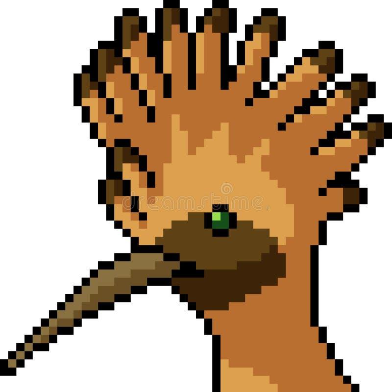 Wektorowy piksel sztuki ptaka grzebień royalty ilustracja
