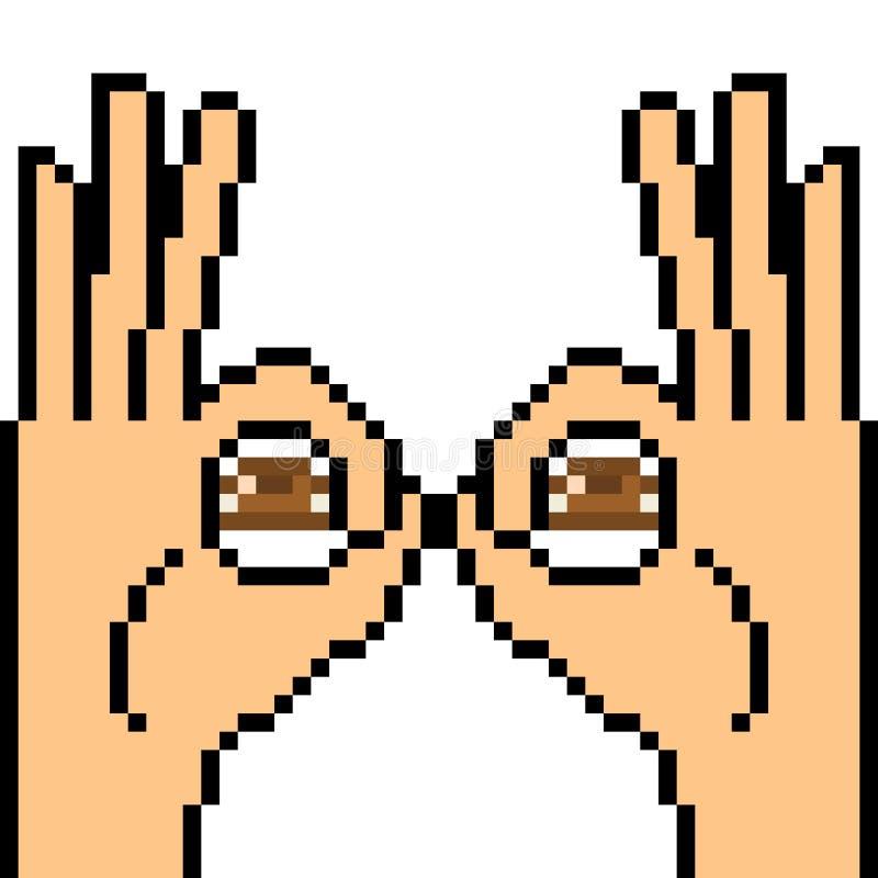 Wektorowy piksel sztuki ręki znaka zerknięcie ilustracji