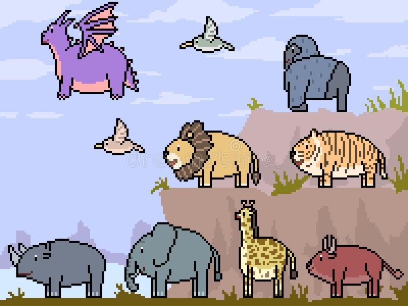 Wektorowy piksel sztuki sceny zwierzę royalty ilustracja
