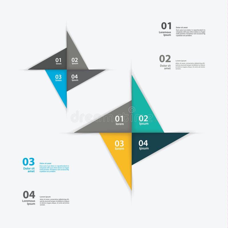 Wektorowy pinwheel szablon. Abstrakcjonistyczny układ dla prezentaci lub wewnątrz ilustracja wektor