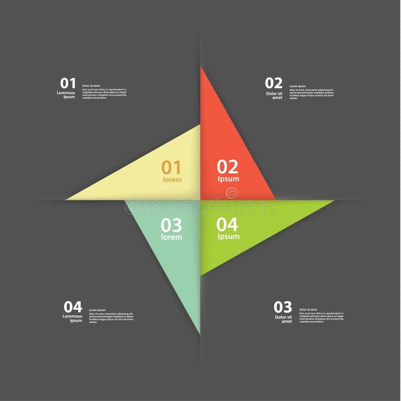 Wektorowy pinwheel szablon. Abstrakcjonistyczny układ dla prezentaci lub wewnątrz ilustracji
