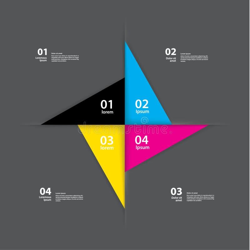 Wektorowy pinwheel szablon Abstrakcjonistyczny układ dla prezentaci lub wewnątrz ilustracja wektor