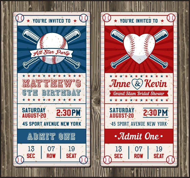 Wektorowy Pionowo baseballa zaproszenie royalty ilustracja