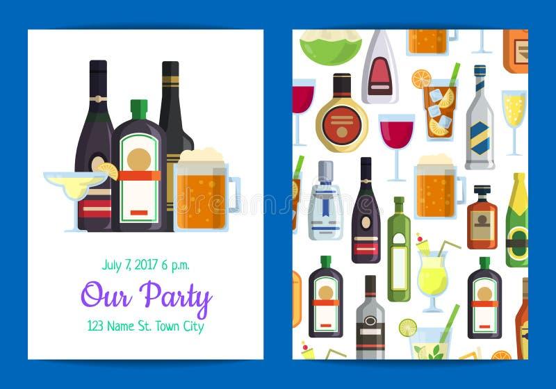 Wektorowy pionowo zaproszenie szablonu przyjęcie z alkoholicznymi napojami ilustracja wektor