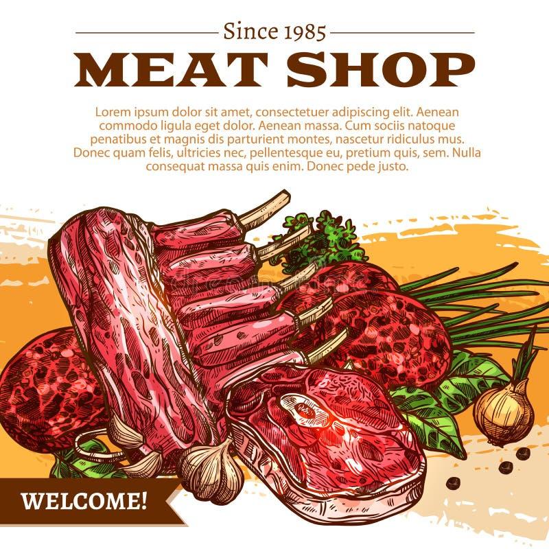 Wektorowy plakat dla butchery sklepu mięsnych produktów ilustracji