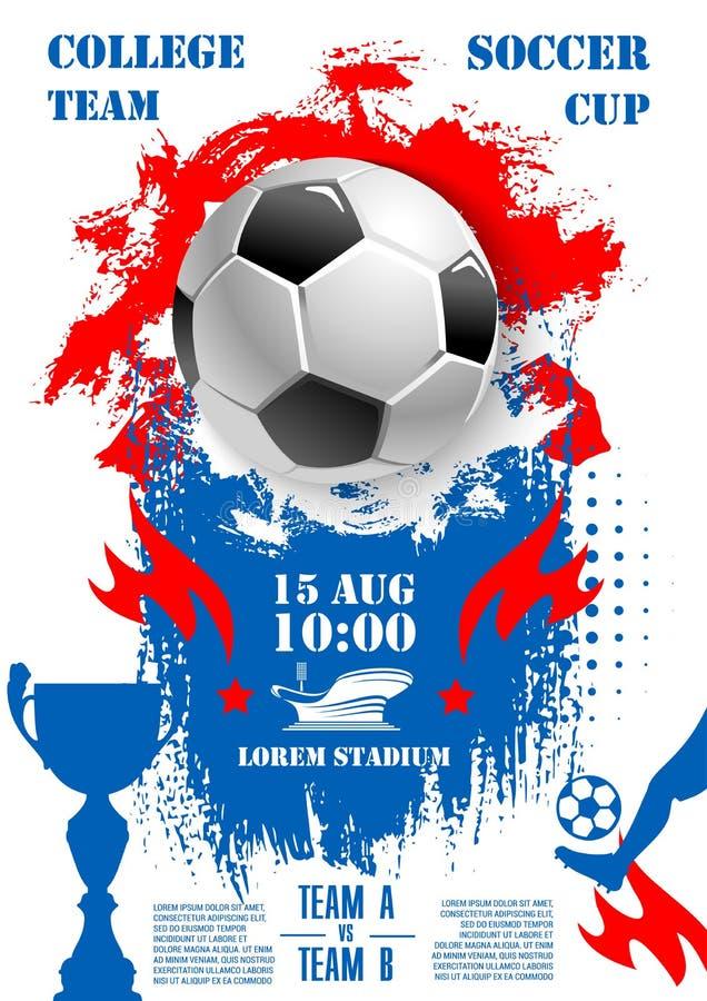 Wektorowy plakat dla piłki nożnej mistrzostwa futbolowej filiżanki ilustracja wektor