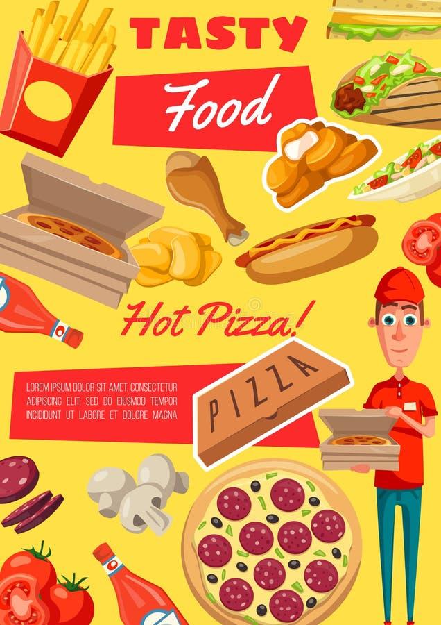 Wektorowy plakat fast food przekąski i posiłki ilustracja wektor