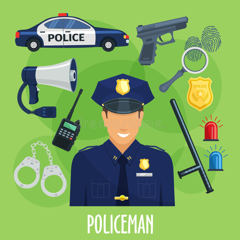 Wektorowy plakat policjanta zajęcia rzeczy ilustracja wektor