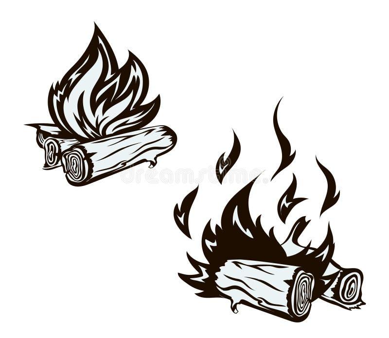 Wektorowy plakat z ręka rysującym ognisko setem płomień ilustracji