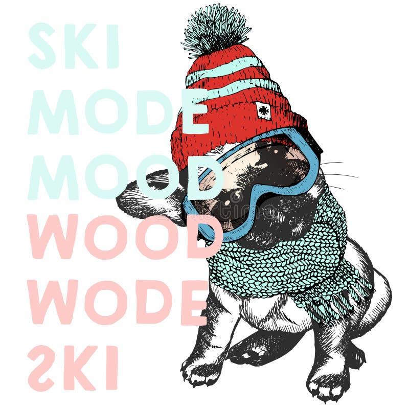 Wektorowy plakat z zakończeniem w górę portreta beagle pies Narciarski trybu nastrój Szczeniak jest ubranym beanie, szalika i śni ilustracja wektor