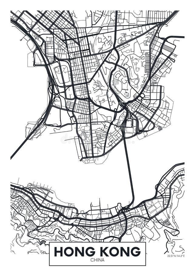 Wektorowy plakatowy mapy miasto Hong Kong ilustracja wektor