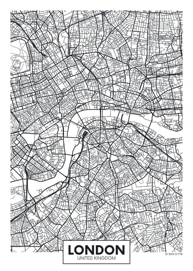 Wektorowy plakatowy mapy miasto Londyn royalty ilustracja
