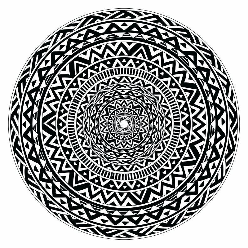 Wektorowy plemienny ludowy aztec geometryczny wzór w okręgu royalty ilustracja