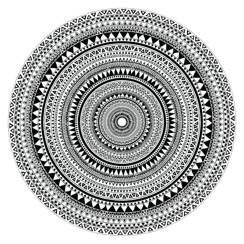 Wektorowy plemienny ludowy aztec geometryczny wzór w okręgu ilustracja wektor