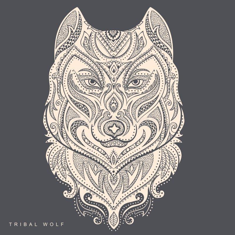 Wektorowy plemienny stylowy wilczy totemu tatuaż ilustracji