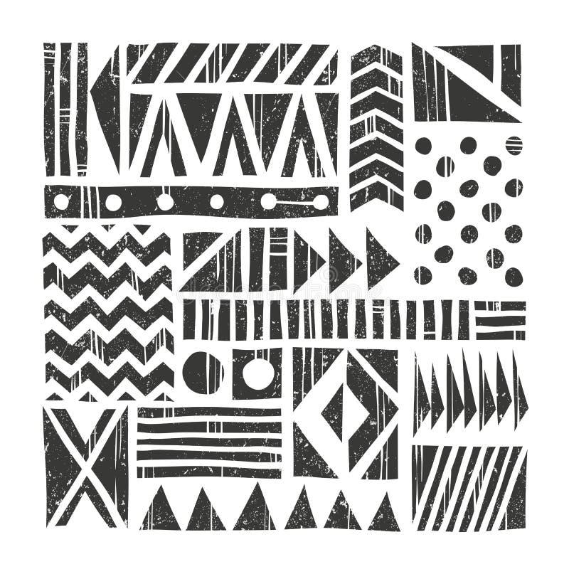 Wektorowy plemienny tło Abstrakta wzór z pierwotnymi kształtami szczotkarski węgiel drzewny rysunek rysujący ręki ilustracyjny il ilustracji