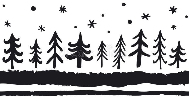 Wektorowy pociągany ręcznie bezszwowy wzór z doodle sosnami Bożenarodzeniowy Północny tło czarny white ilustracji