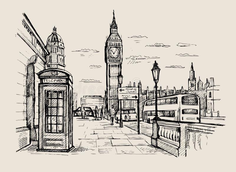 Wektorowy pociągany ręcznie Londyn ilustracji
